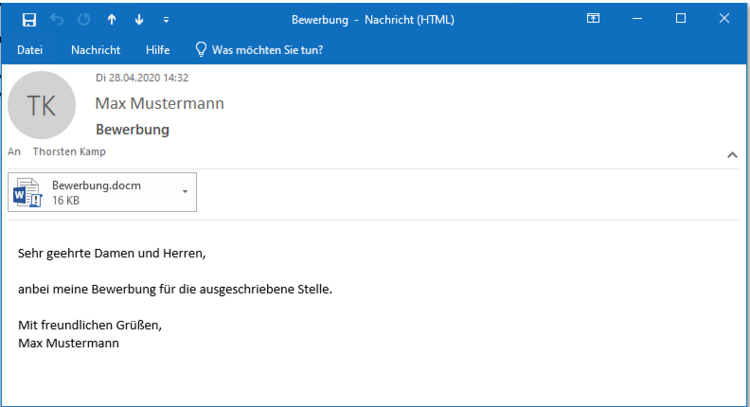Phishing-Mail mit Virus