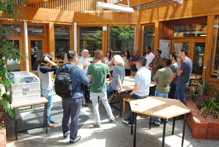 "Practical test ""Biogas Stove efficiency"" at the courtyard of the Energy Laboratory."