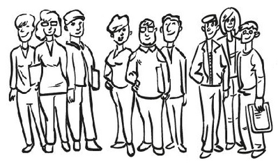 Drawing of nine lecturers standing and looking at the viewer.