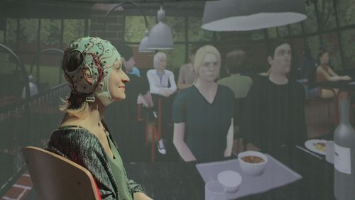Young woman with EEG cap, virtual cafeteria environment in the background.